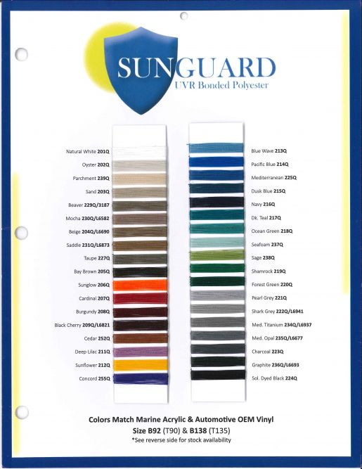 SS-170 Sunguard Polyester Thread Card